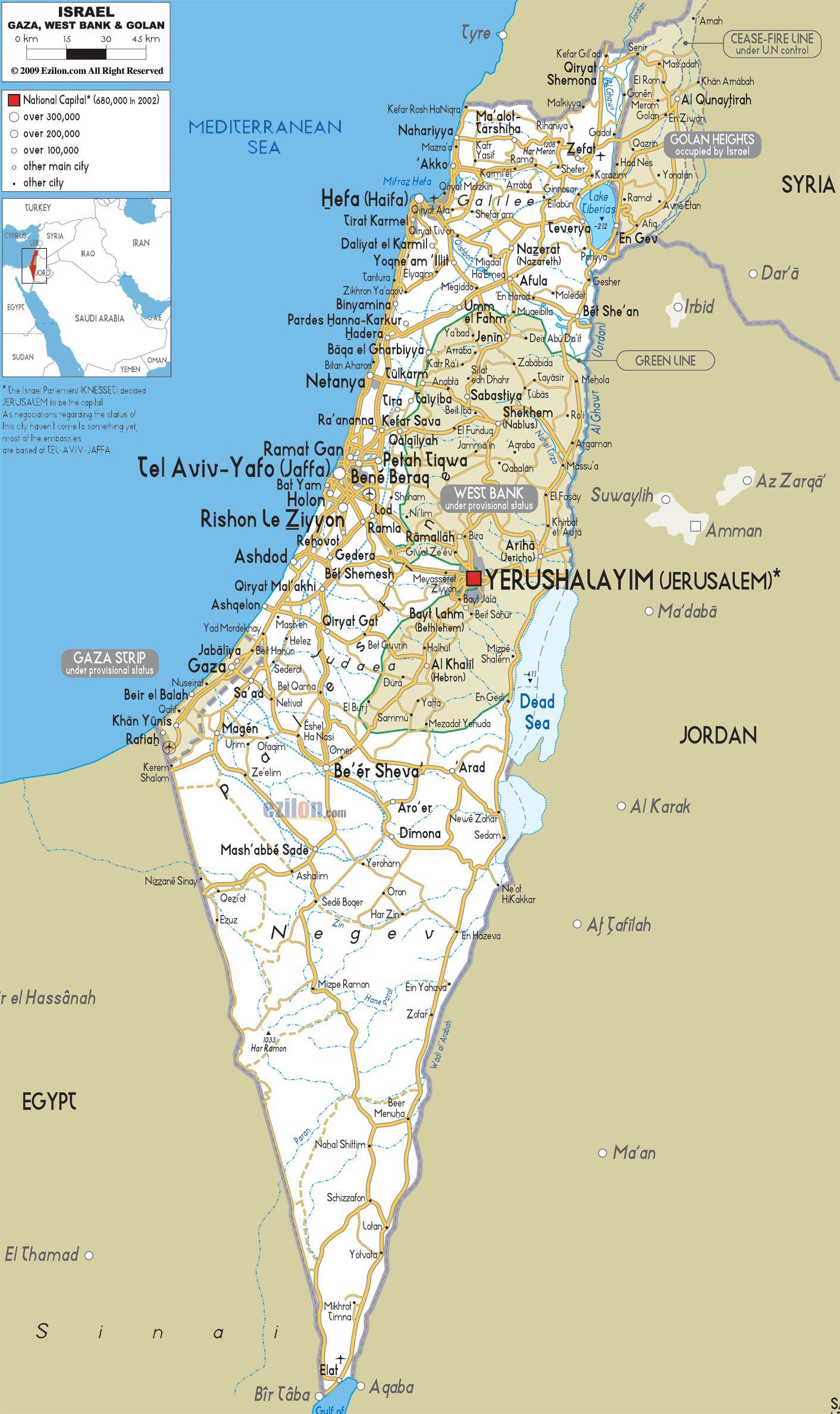 Israel Veje Kort Kort Over Israel Veje Det Vestlige Asien Asien