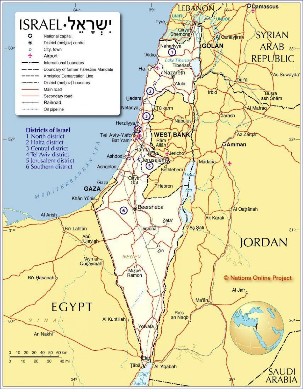 Kort Over Israel Israel Regioner Kort Det Vestlige Asien Asien